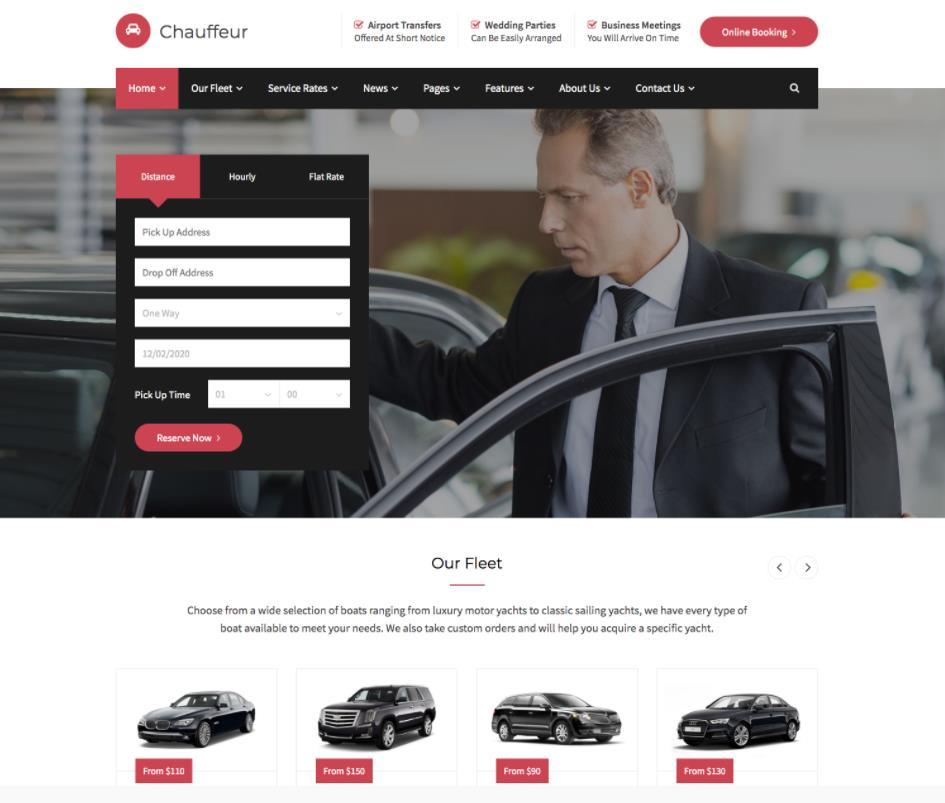 WordPress汽车租赁主题Chauffeur免费下载-IT技术网站