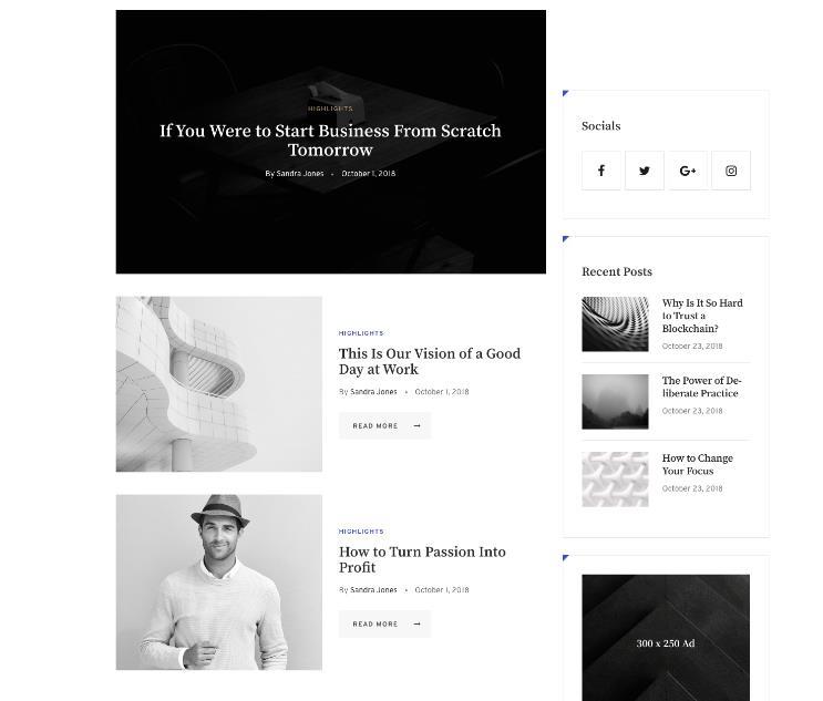 WordPress黑白个性博客主题Aldo-IT技术网站